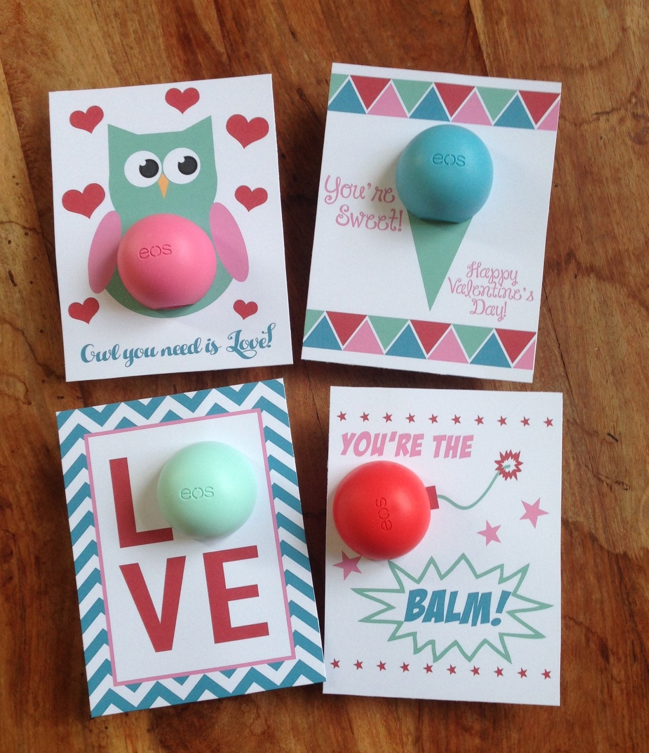 Valentine's Day Cards/gift Tags For EOS Lip Balm