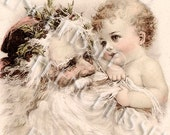 Antique German Christmas Postcard Baby pulling Santa's Beard Instant Download
