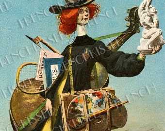 Victorian Artist Belle Epoque University Student Altered Antique Postcard Digital Printable