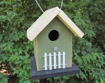 Green Yellow Chickadee Birdhouse Primitive White Picket Fence