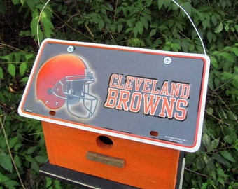Cleveland Browns Vanity Plate  Football  Birdhouse Fully Functional