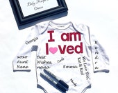I Am Loved//Fabric Iron On Letter Appliques And Heart//Baby Shower//Onesie Signing//Bodysuit Signing//Guest Book