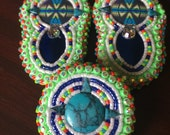 Beaded earrings and brooch set