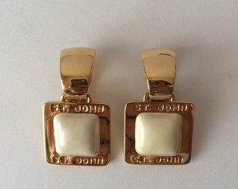 St John Designer Vintage Clip On Earring Cream and Gold Door Knocker