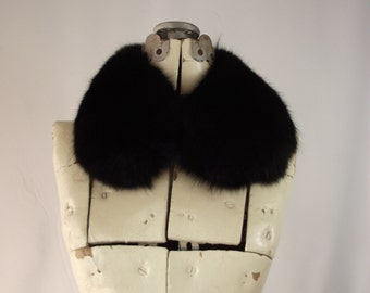 Black Fox Fur Collar Scarf Replacement Fur Neck Collar