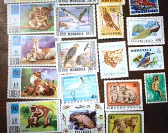 Postage Stamp Lot of Animal Themed World Wide Stamps Philately Collectables Ephemera Vintage Stamps From Around the World