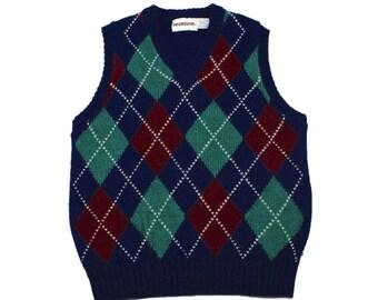 Vintage 1980s 80s McGregor Navy Blue Argyle Wool Blend Golf Sweater Vest Mens Size Small