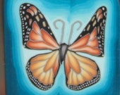 Medium Polymer Clay Monarch Butterfly Square Cane with Blue Background -'Ripple' (31D)