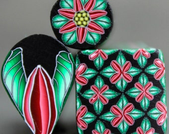"""Set of 3 Polymer Clay Holiday Canes -""""Holly Jolly"""" (31dd)"""