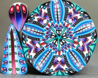 Set of 3- LARGE Polymer Clay Kaleidoscope Cane and 2 matching canes  (43C)