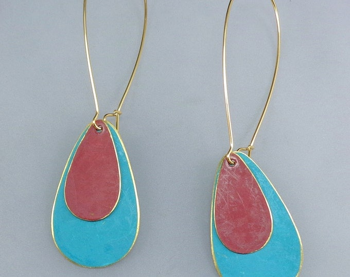 Brass Patina Teardrop Earrings in Teal and Red