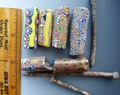 6 Vintage Millefiori Beads from the African Trade