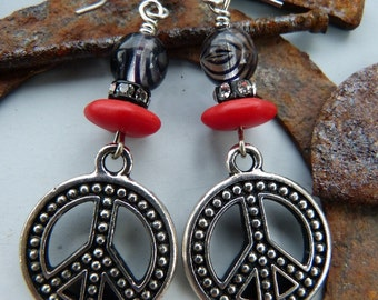 Red and Black Peace Symbol Charm Earrings