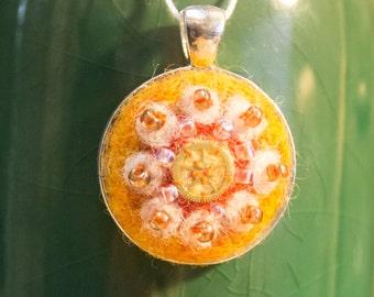 """OOAK Needle Felted Kaleidoscope Pendant - """"Clementine"""""""