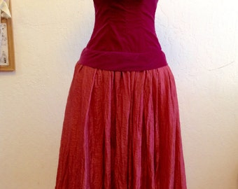 Repurposed/ Upcycled/ Vintage Gown/ 1940's/ Evening / Special Occasion/ Medium/ Claret/ Coral/Velvet, Weddings