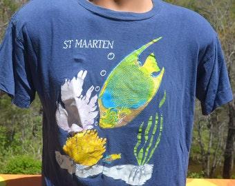 vintage 80s tee ST MAARTEN caribbean beach tropical fish scuba souvenir soft t-shirt Medium Small