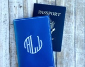 Personalized Passport Covers - Monogram travel gift - signet monogram - faux leather passport cover - passport holder -gift for him