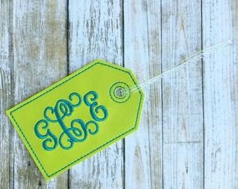Monogram luggage tag - personalized luggage tag - vine monogram - faux leather luggage tag - groomsman gift - bridesmaid gift
