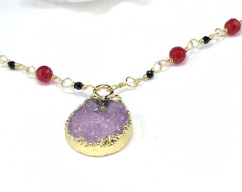 Purple Necklace, Druzy Necklace, Ruby Necklace, Wire Wrapped Necklace, Gold Necklace