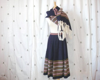 ON SALE!  Vintage German Skirt and Shawl Scarf Set, Navy Blue with Red, Yellow and White, Fringe, M