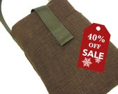 40%off Holiday Sale! Padded Gray Brown iPhone 4S 4 5 Smart Cell Phone Sleeve Pouch Print Cotton Charger pocket holde with BONUS Wrist Strap