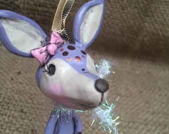 Purple reindeer woodland folk art Christmas ornament Ready to ship with silver sparkle scarf