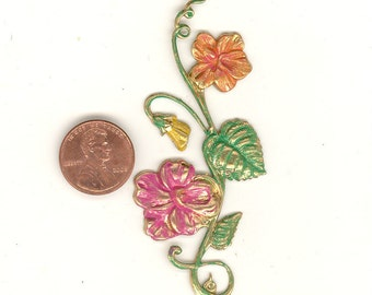 A 3 Inch Hand Painted Patina Brass Metal Flower Embellishment