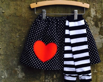 Girls Valentine's Day Skirt and Leg Warmer Set - Baby, Toddler, Big Kid Sizes - Great Birthday Gift - Photo Shoot or Party Outfit