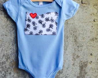 Baby Bodysuit - Portland, Oregon Bike State Love - Great for Birthdays, Showers Gifts and Photo Shoots - Other States Available By Request