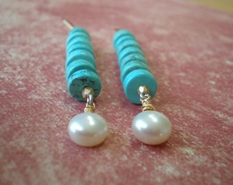 Turquoise Bead Statement Earrings | Bohemian | Stacked Turquoise Rondelle | Chunky Stick Earring | Pearl | Beach Jewelry | Birthday Gift Mom