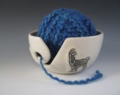 Ceramic Yarn Bowl / Pottery Knitting Bowl in White with Alpaca Llamas