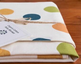 Polka Dot Baby Blanket, Multicolor Modern Baby Blanket, Red Blue Green Yellow Orange Pink Organic Receiving Blanket, Handmade Baby Gift