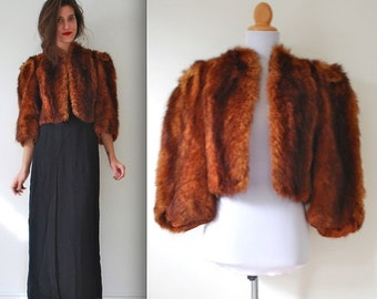 SALE SECTION / 40% OFF Vintage 50s 60s Fox Fur Chubby Cropped Jacket (size xs, small)