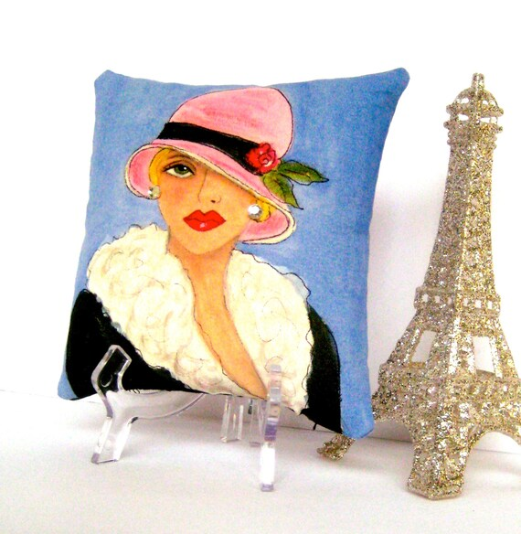 """new..GIGI PARIS PILLOW, hand painted pillow, 5"""" X  5"""", soft blue, French lady, cloche, gift for her, francophile gift, aqua, Christmas gift"""