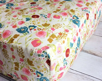 Floral Fitted Crib Sheet - Baby Girl Crib Sheet - Ivory Coral Teal Crib Sheet - Floral Nursery Bedding - Watercolor Floral Crib Sheet -