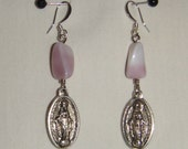 Lavender Miraculous Medal Earrings inv1340