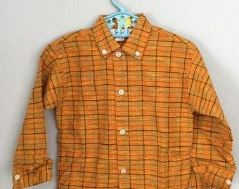 Vintage 60s 70s NOS Deadstock Orange Plaid Button Down Shirt 3t 4t