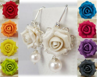 White Rose Pearl Earrings - White Rose Pearl Jewelry, White Flower Earrings
