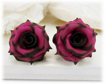 Black Tip Pink Rose Earrings Stud or Clip On