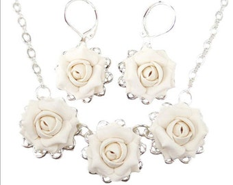 Rose Jewelry Set - Trio Rose Jewelry Collection, White Rose Wedding Jewelry