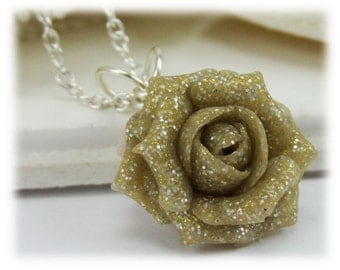 Dainty Beige Rose Glitter Necklace - Glitter Jewelry, Glitter Flower Necklace
