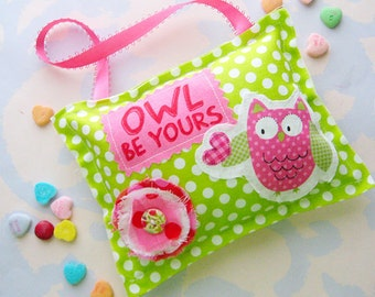 Owl Be Yours Green and Pink Owl Fabric Hanging Valentine Ornament