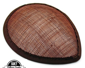 1 - Brown - Teardrop Hat Base - Hat Form - Hat Foundation -  Sinamay Straw - Fascinator - Millinery