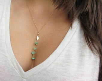 ON SALE Gemstone Necklace Gemstone Jewelry Gold Lariat Necklace Style Chrysoprase Necklace Gold Leaf Necklace Gold Filled