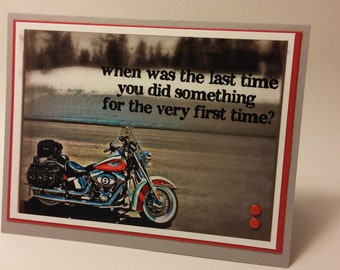 Unique Hand Stamped Motorcycle Photograph Greeting Card for Bikers