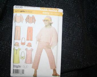 UNCUT, Simplicity 5038 Girls Pants, Dress, Top, Hat, Bag Sewing Pattern SEWBUSY12