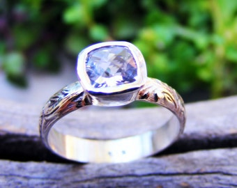 White Topaz Sterling Silver Floral Pattern Ring Band, Wedding Or Engagement Ring, Alternative Diamond Ring, Handcrafted By Helene's Dreams