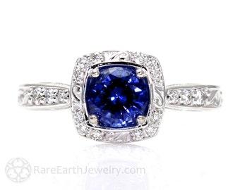 Art Nouveau Blue Sapphire Engagement Ring Diamond Halo Blue Sapphire Ring Vintage Custom Gemstone Ring 14K or 18K Gold or Palladium