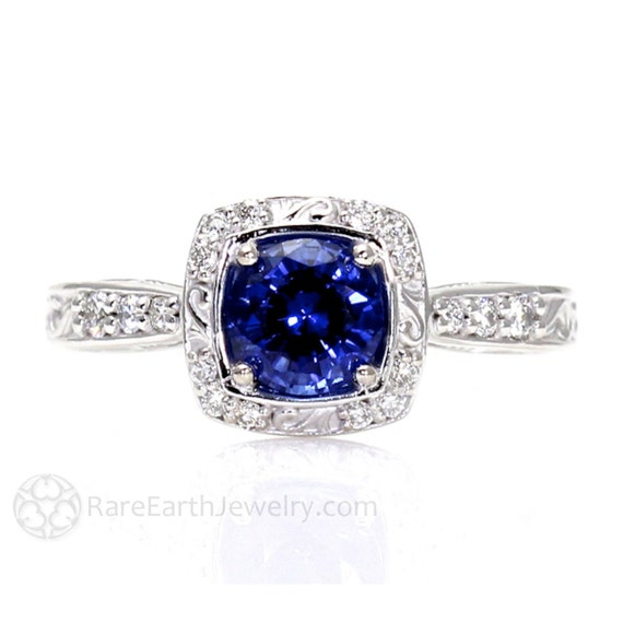 Art Nouveau Blue Sapphire Engagement Ring Diamond Halo Blue Sapphire Ring Vintage Custom Gemstone Ring 14K or 18K Gold or Palladium