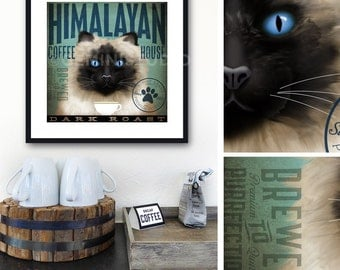 Himalayan Cat Coffee Company graphic artwork giclee archival signed artist's print by Stephen Fowler